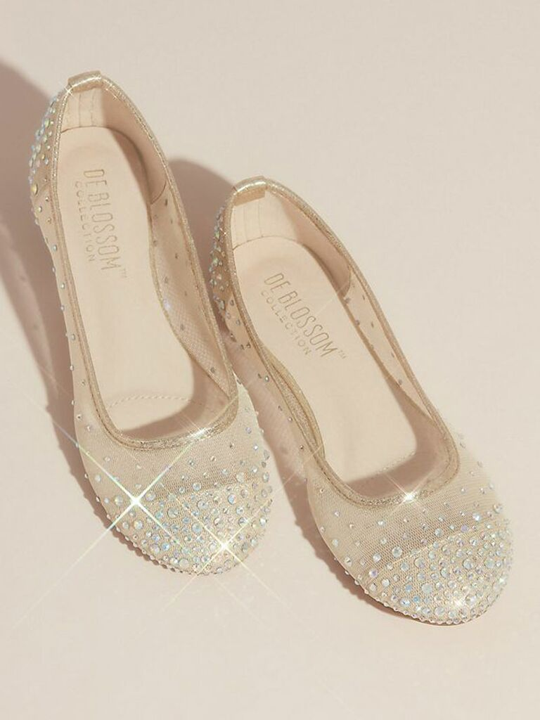 nude and rhinestone ballet flats