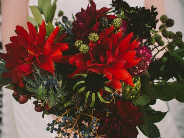 winter wedding ideas bold bouquet