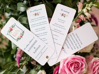 ceremony program with pink watercolor painted roses