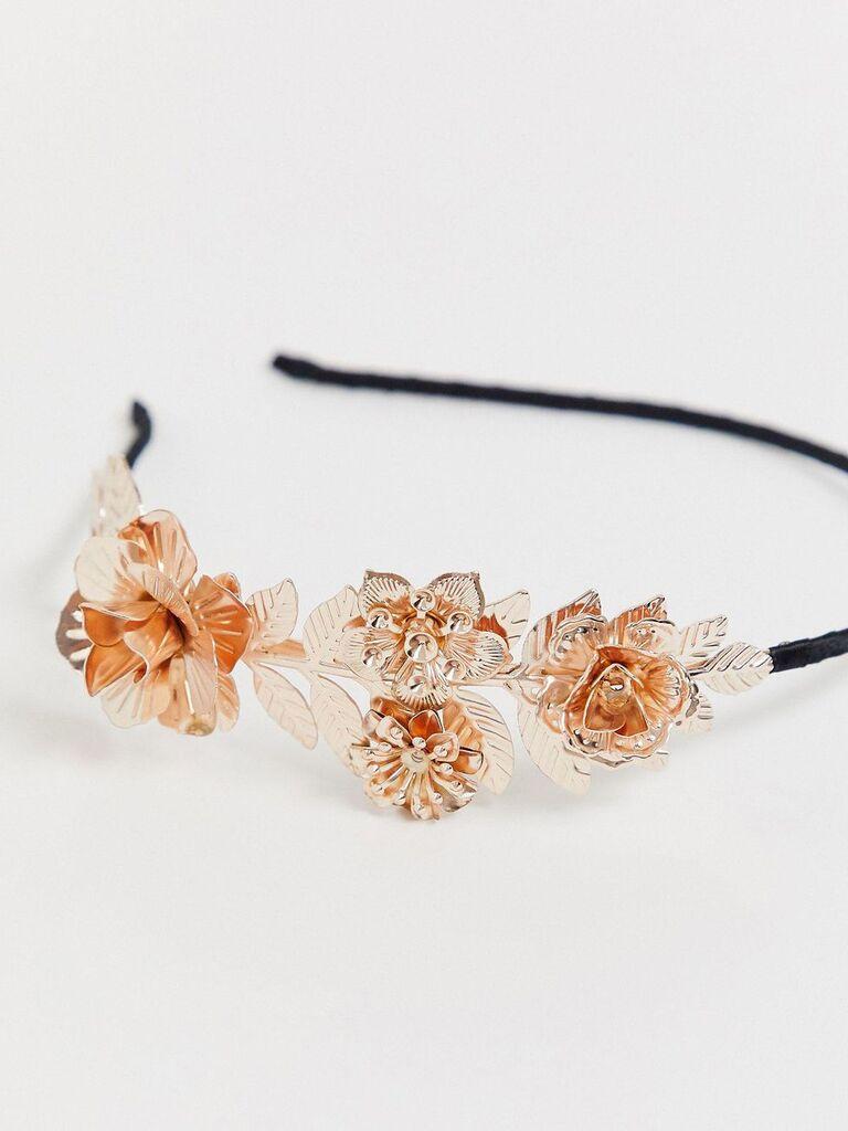 Rose gold floral headband