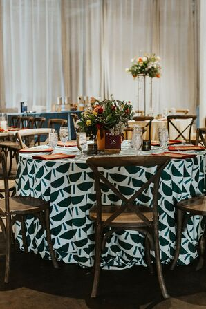 Eclectic Dining Table with Patterned Black-and-White Linen