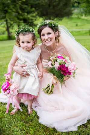 Blush and Gold Flower Girl Dress With Petticoat