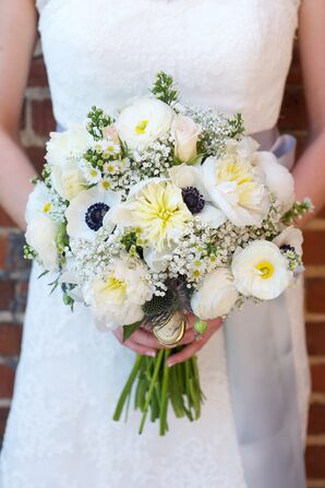 Ivory Anemone, Peony and Baby's Breath Bouquet