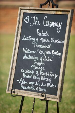 Framed Chalkboard Schedule of Events