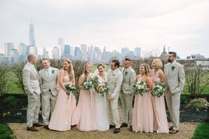 Soft, Romantic Taupe and Blush Wedding Party Attire