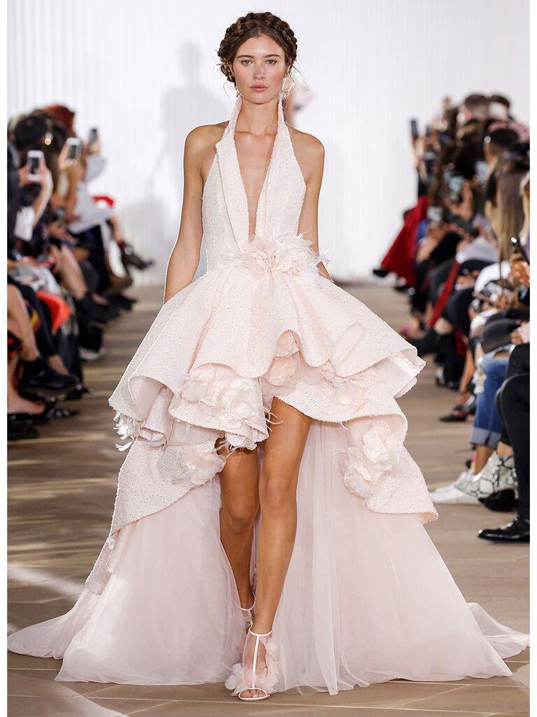 Blush Halter High-Low Wedding Dress
