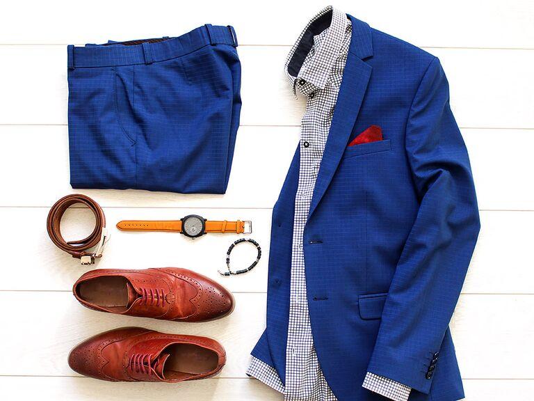 Blue suit brown shoes combination