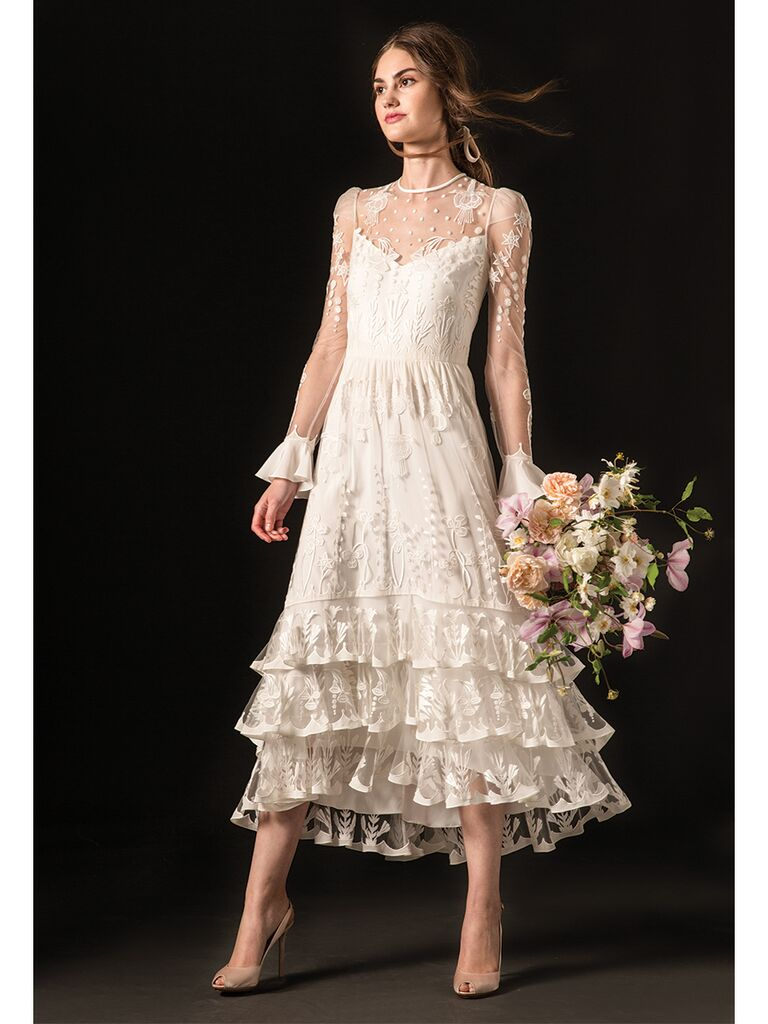 Lace Long Sleeve Midi Wedding Dress