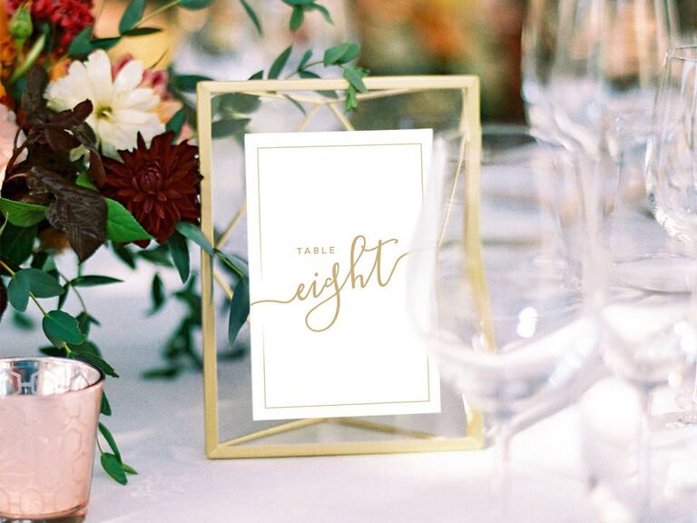 Shop Meraki Design wedding table numbers with gold frames