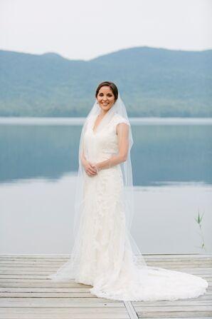 Slim Ivory Lace Sheath Dress