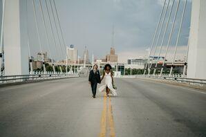 Couple Walking Down Bridge in Milwaukee, Wisconsin