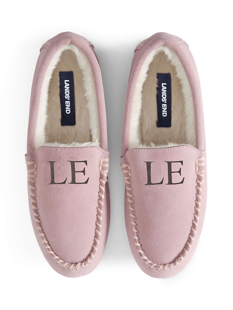 lands end light pink bride mocsasin slipper