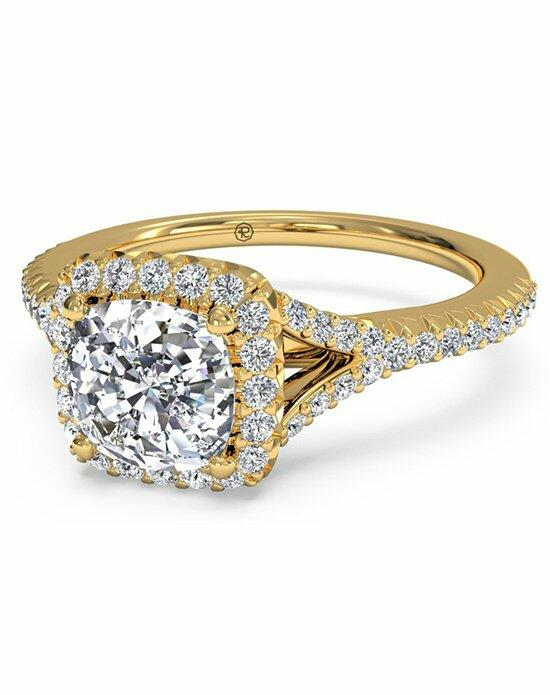 Ritani Cushion Cut French-Set Halo Diamond 'V' Band Engagement Ring in 18kt Yellow Gold (0.23 CTW) Engagement Ring photo
