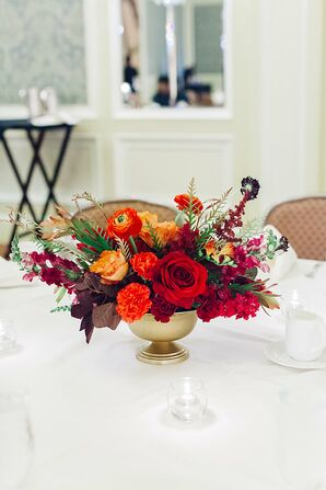 Vibrant Red Rose, Ranunculus and Stock Centerpiece