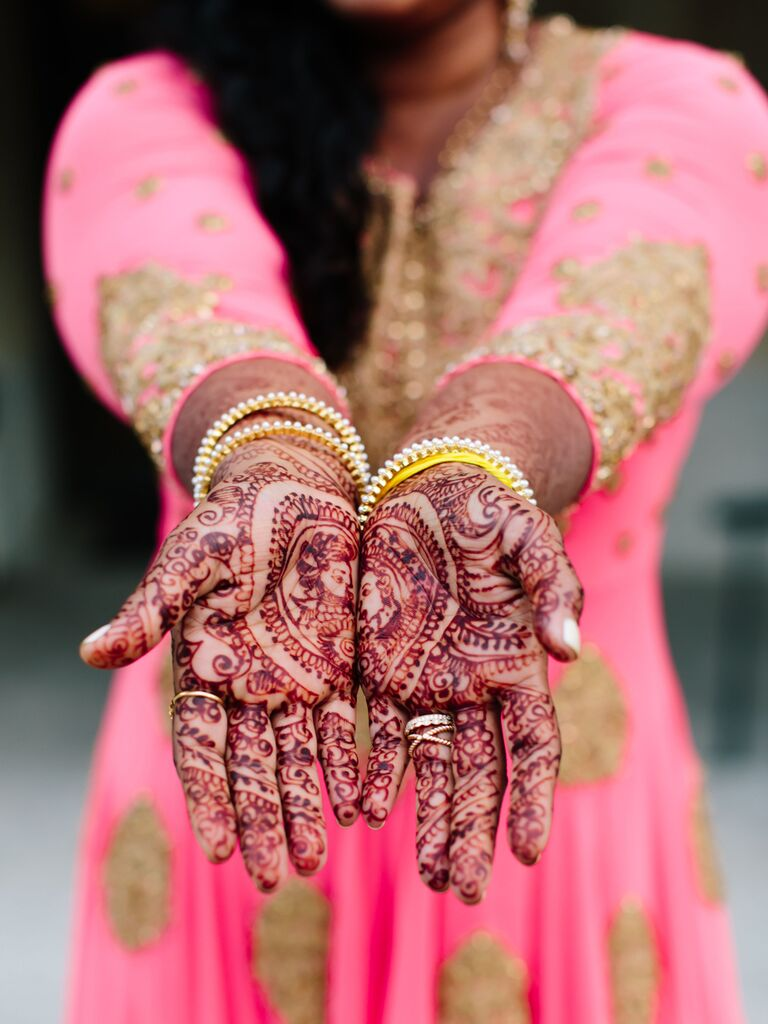 Complex wedding henna design