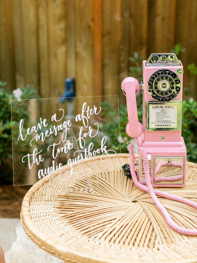 pink phone audio guest book