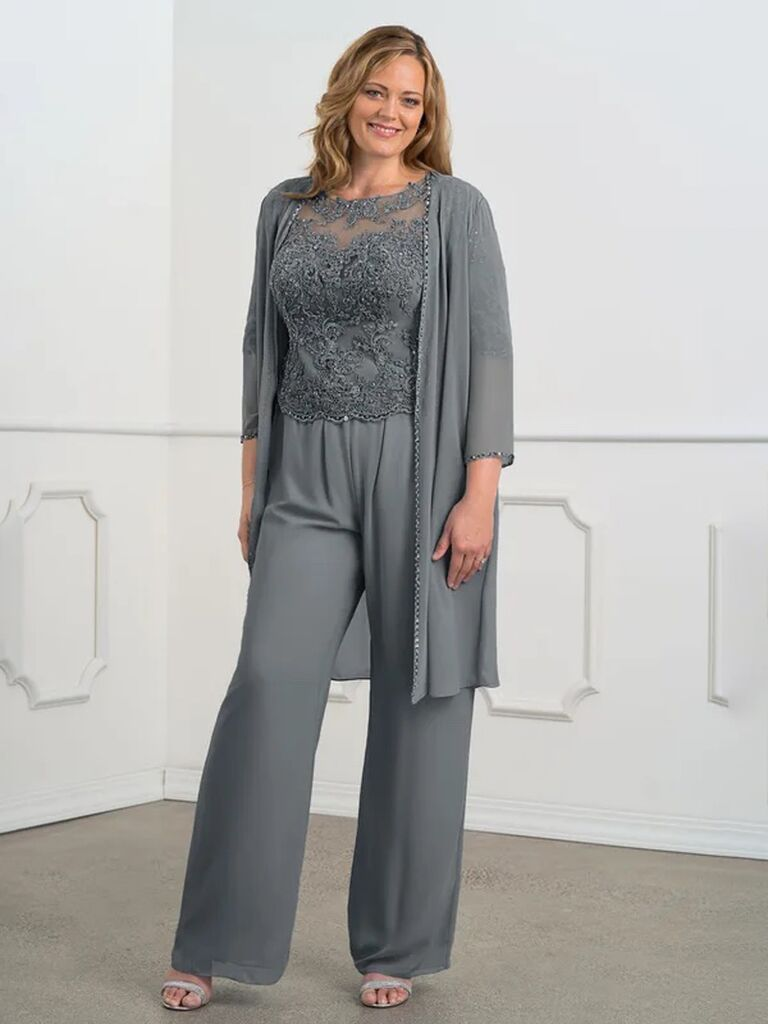 azazie grey mother of the bride pant suit with lace