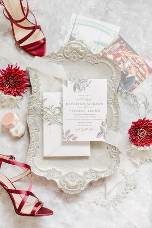 Romantic Invitations for Wedding at Kimpton Hotel Monaco in Philadelphia, Pennsylvania