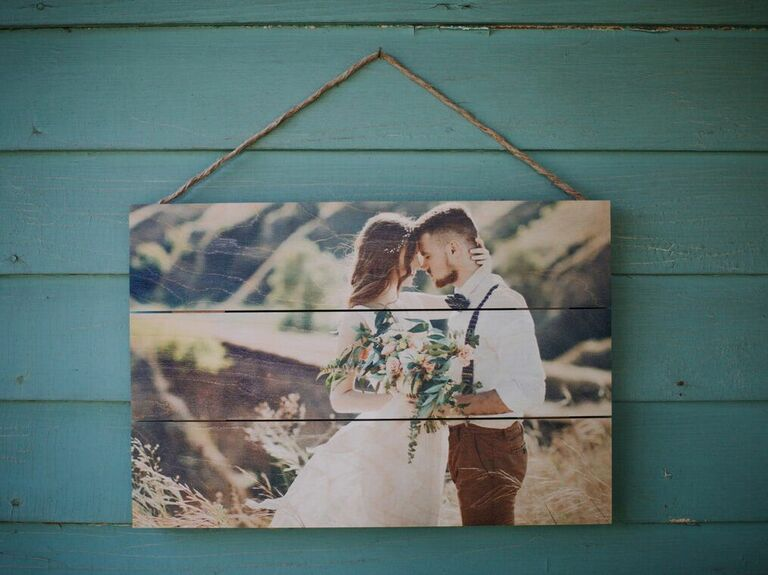 Rustic wood pallet photo print of couple on wedding day