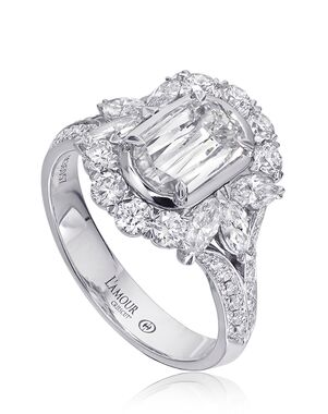 Christopher Designs Glamorous Emerald, Oval Cut Engagement Ring
