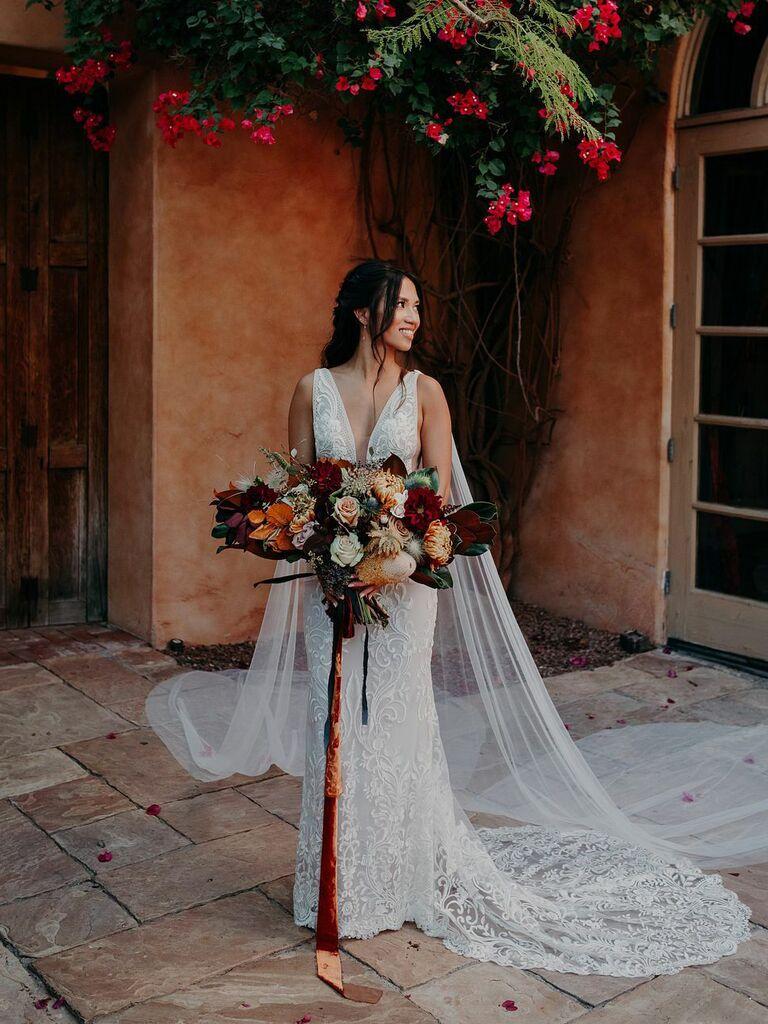 winter wedding ideas velvet ribbon bouquet