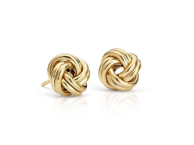 Yellow gold love knot stud earrings
