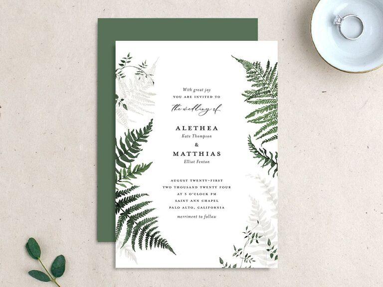 Affordable forest ferns wedding invitation