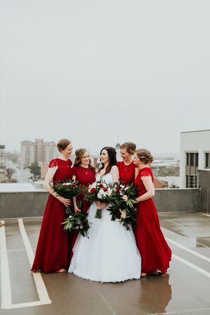 Red Bridesmaid Dresses Popped Against the Bride's White Wedding Gown