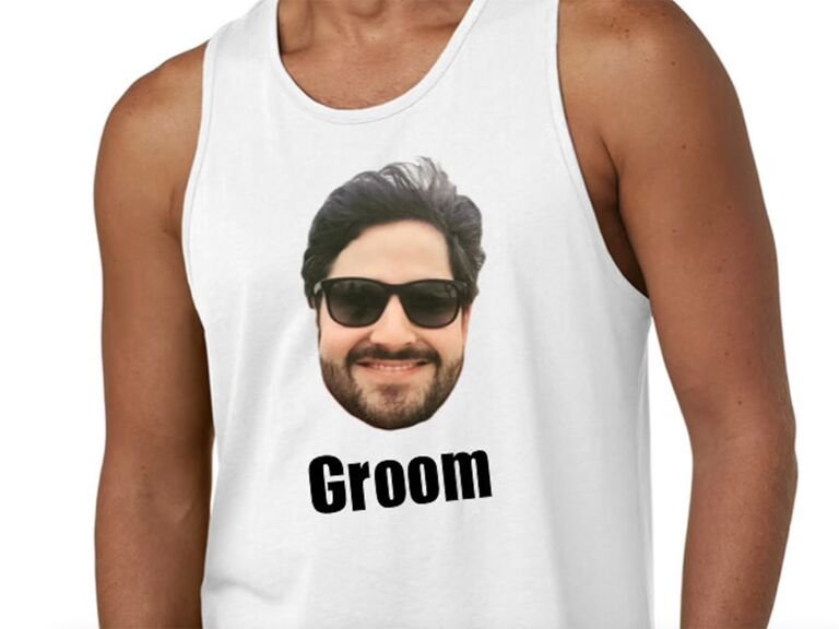 Personalized photo and 'Groom' in black type on white tank