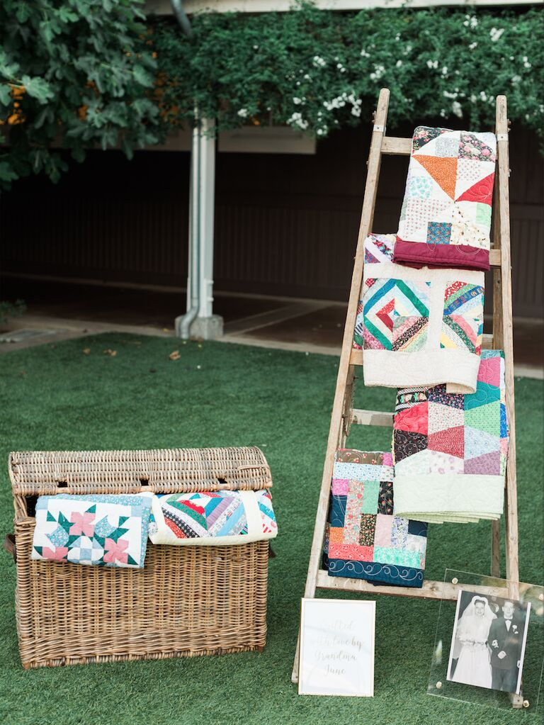 how to honor loved one at wedding quilt station with pictures