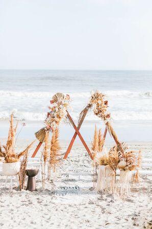 Boho-Chic Wedding Altar Arch for Beach Wedding in Ocean City, New Jersey