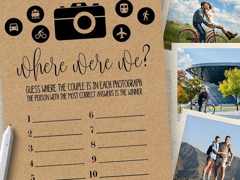'Where were we?' game with 10 photos, camera and other travel-themed icons on brown paper