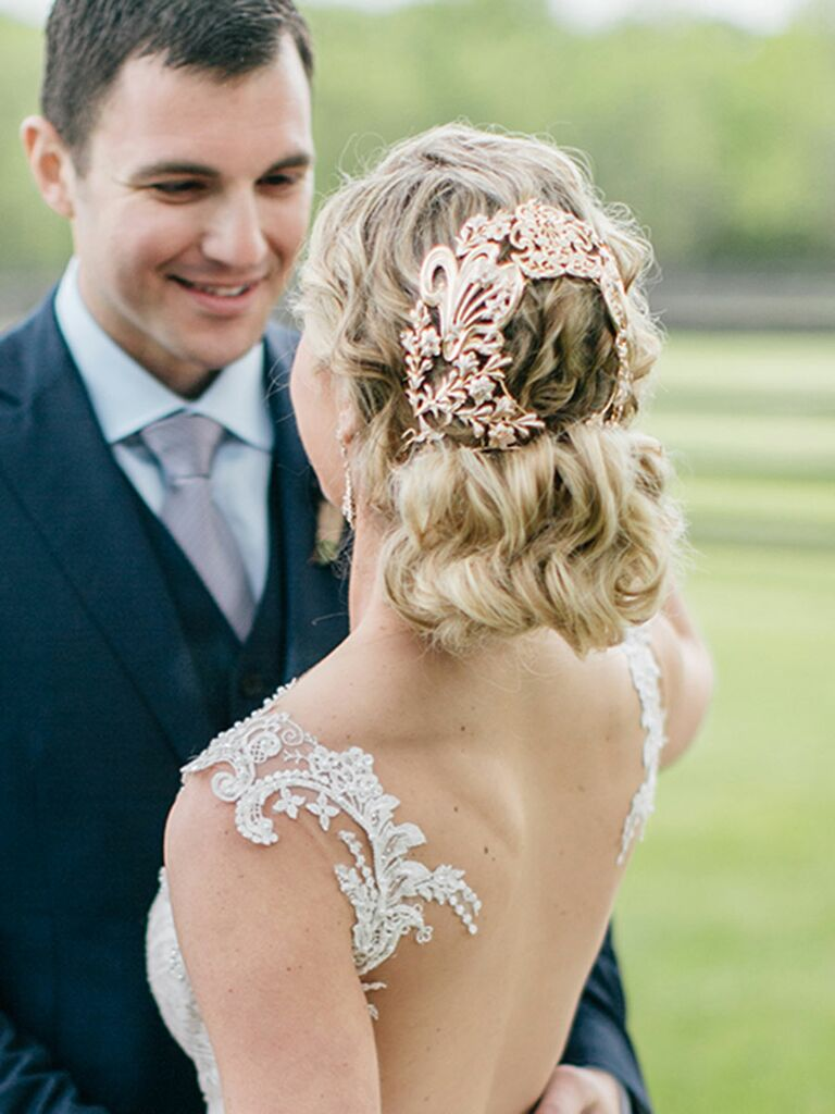 Bride with an accessory-adorned updo.