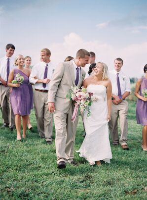 Wisteria Purple and Khaki Wedding Party Attire