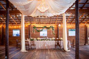 Champagne-Linen-Draped Barn Reception