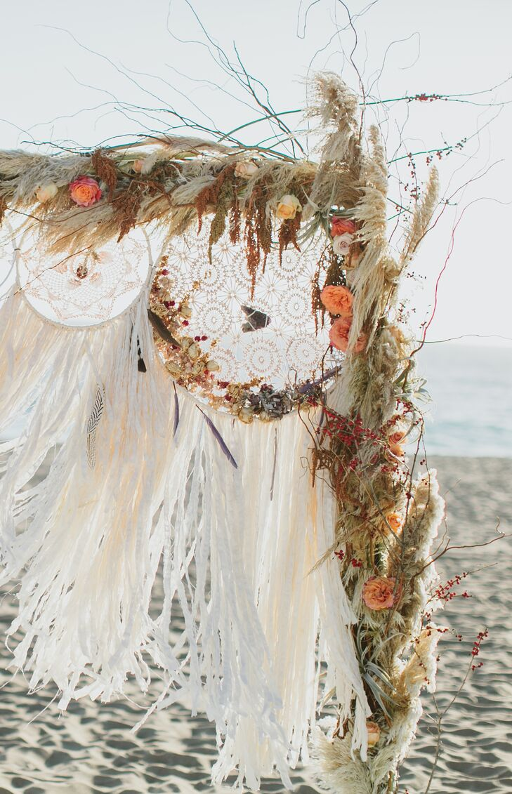 """""""Shortly after Dave proposed to me, my mother came to town to visit,"""" Gwynne says. """"We were out shopping, and I stumbled on these beautiful handmade dream catchers. I knew I had to incorporate them into my wedding."""""""
