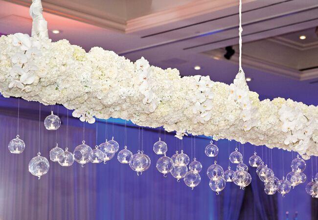 Hanging glass globe wedding decor: Perez Photography / TheKnot.com