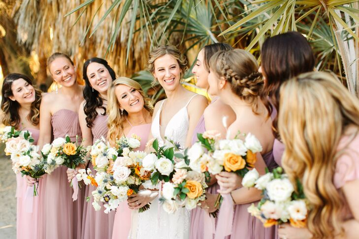 Bride With Bridesmaids in Mauve Dresses for Wedding at The Living Desert Zoo and Garden in Palm Desert, California
