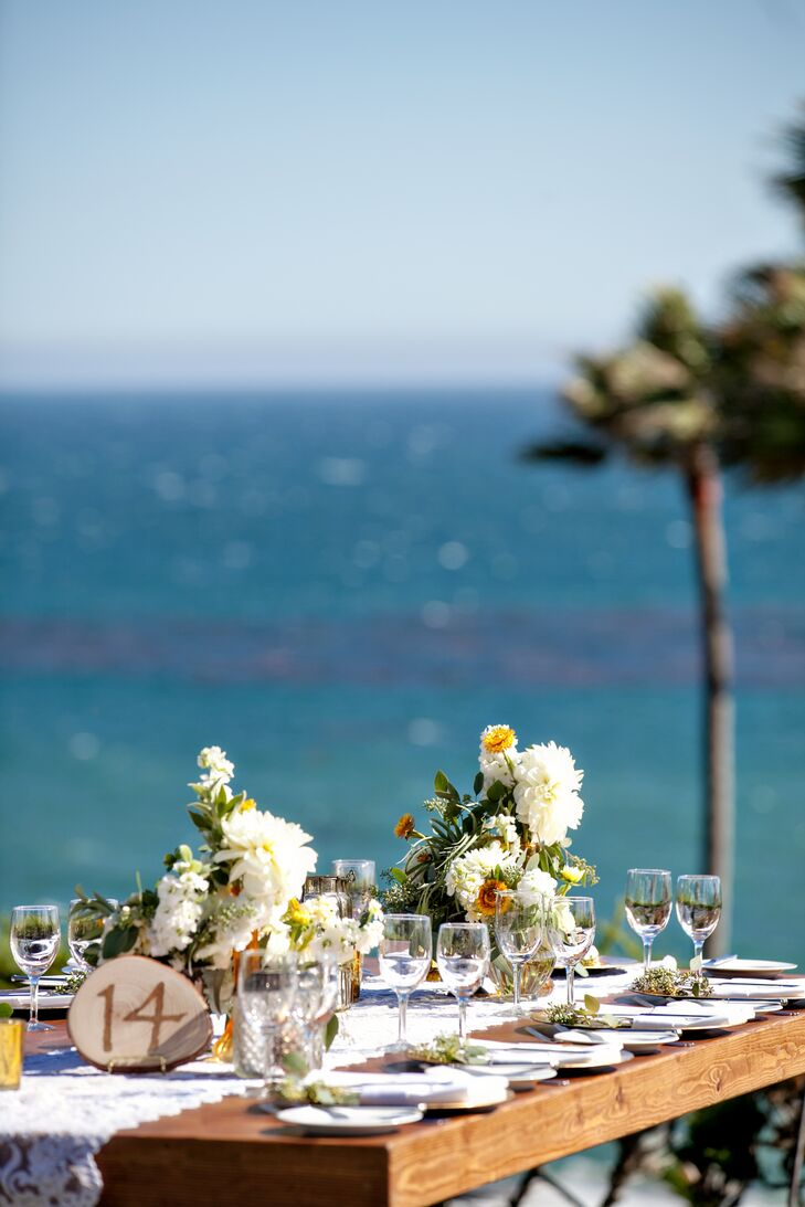 The bride and groom held their wedding ceremony and reception at Cypress Sea Cove. The private estate in Malibu gives a Cape Cod nautical vibe, and is surrounded by expansive breath-taking views of the ocean.