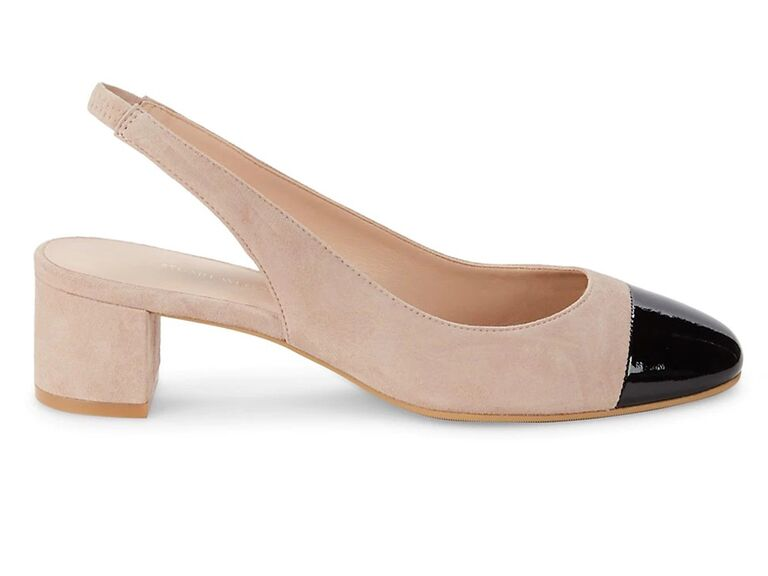 saks off fifth stuart weitzman neutral suede and black patent leather mother of the groom slingback pumps