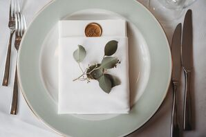 Mint-Green-Rimmed Plates with Wax Seal Paper Goods
