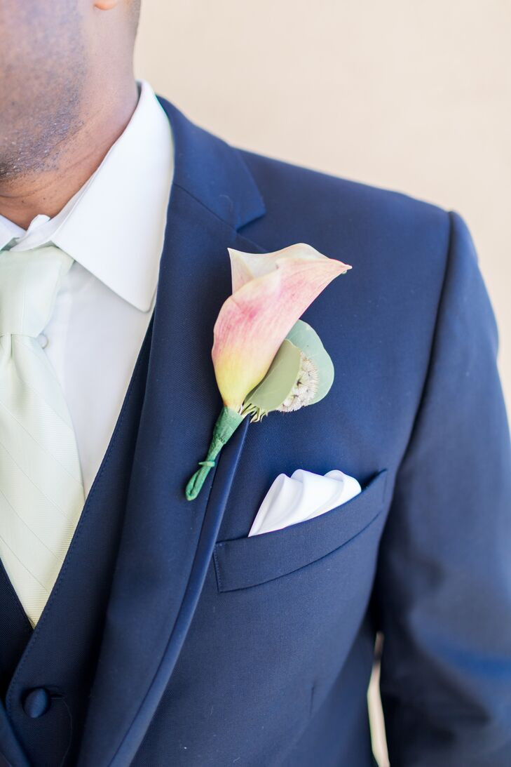 Pastel Pink and Yellow Calla Lily Boutonniere