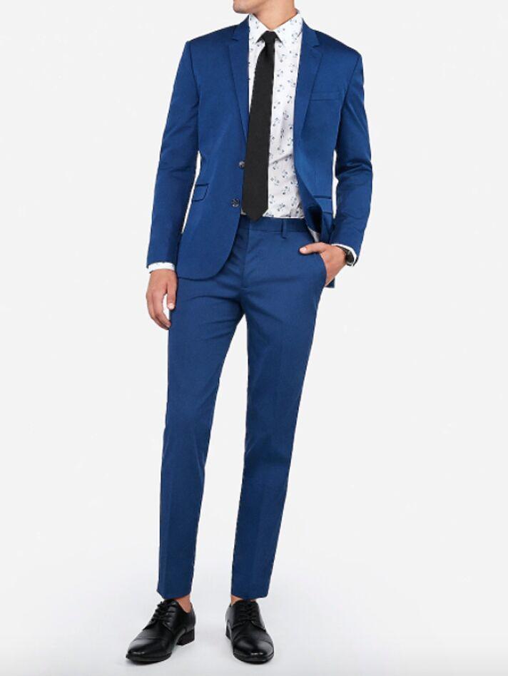 Classic blue cotton-blend suit