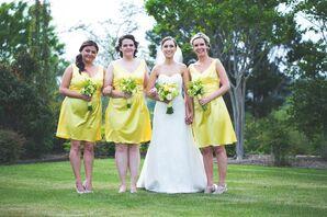 Sunny Yellow Bridesmaid Dresses for Spring Wedding