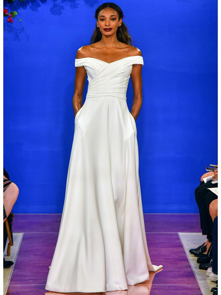 theia wedding dress off-the-shoulder ballgown