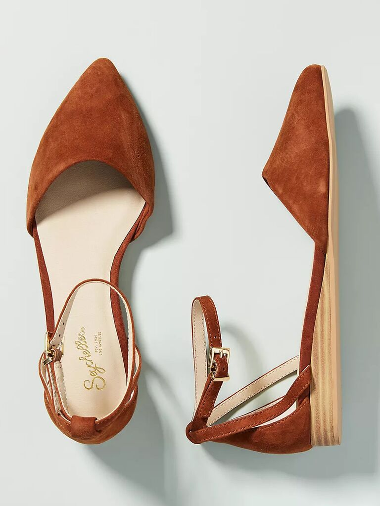 anthropologie burnt orange mother of the groom flat with pointed toe and wedged heel