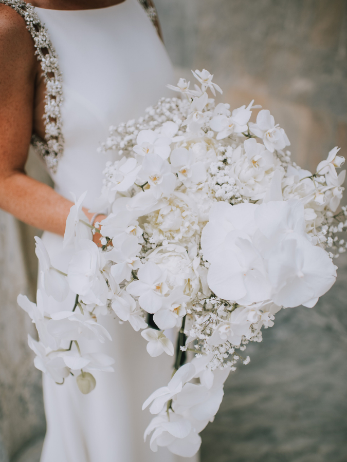 Bouquet with orchids and baby's breath