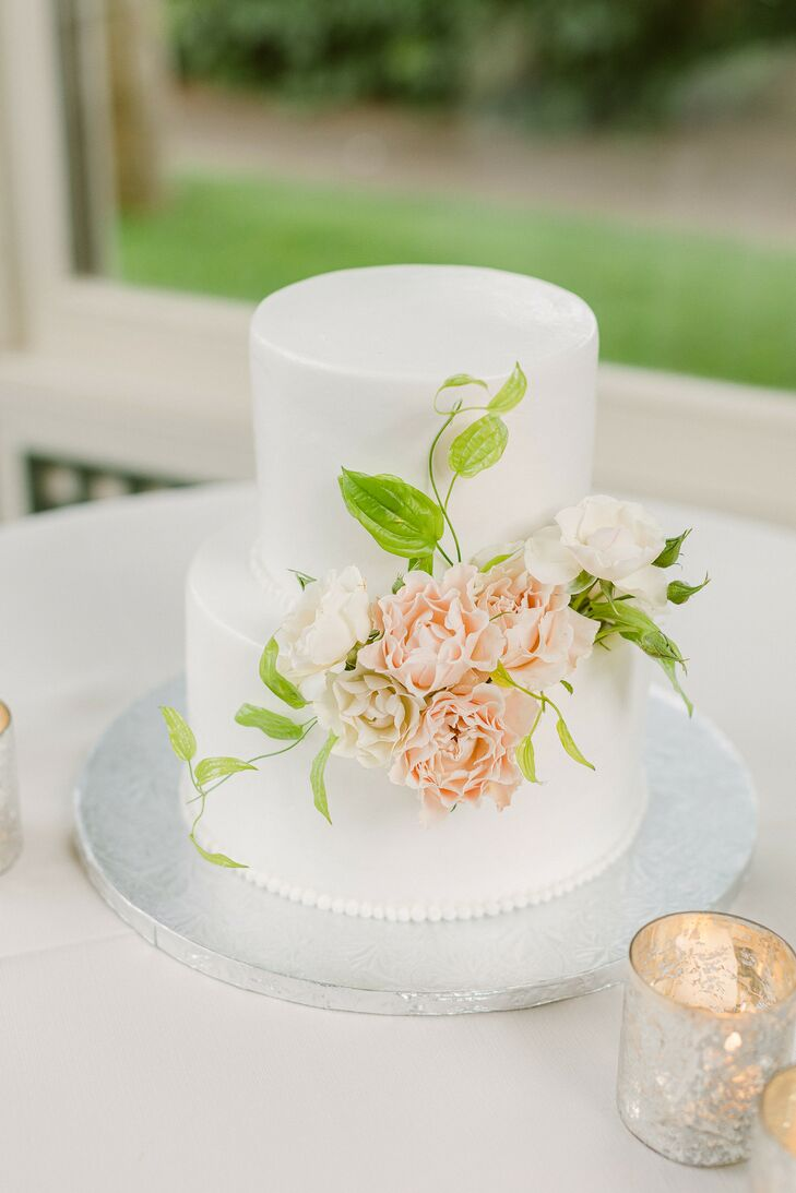 Two-Tier Wedding Cake With Peach Rose Accents