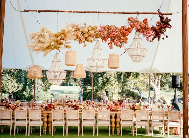 Hanging Flower Installation with Assorted Chandeliers