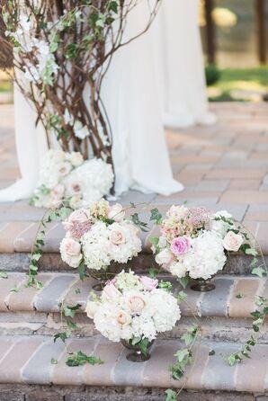 Romantic Hydrangea and Ivy Ceremony Arrangements